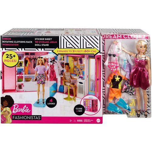 Barbie Fashionistas: Álomgardrób szőke hajú babával és kiegészítőkkel (GBK10)