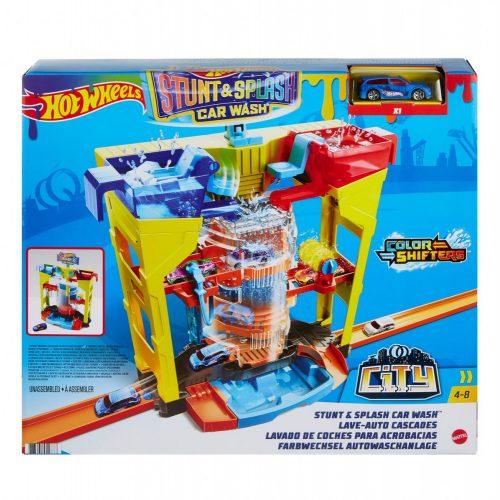 Mattel Hot Wheels City: Kaszkadőr pálya és autómosó játékszett